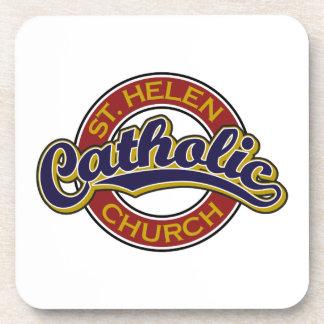 St. Helen Catholic Church Blue on Red Beverage Coaster