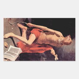 St. Hieronymous by Georges de La Tour Rectangular Sticker