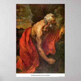 St Hieronymus by Antoon van Dyck Poster
