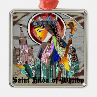 St. Hilda II.png Square Metal Christmas Ornament