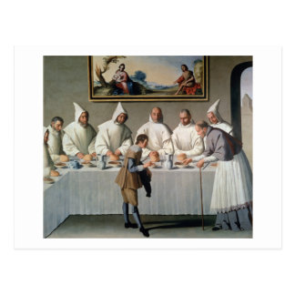 St. Hugh of Cluny (1024-1109) in the Refectory of Postcard