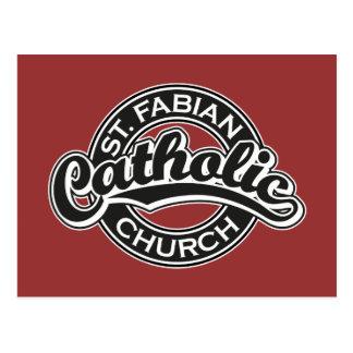 St. Iglesia católica fabiana blanco y negro Postales