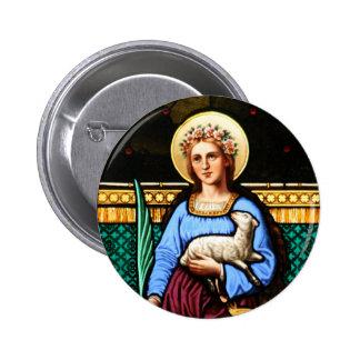 St Inés de Roma, sosteniendo el cordero y la hoja  Pin Redondo De 2 Pulgadas