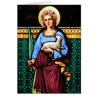 St Inés de Roma, sosteniendo el cordero y la hoja  Felicitaciones