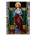 St Inés de Roma, sosteniendo el cordero y la hoja  Tarjetón