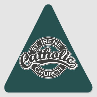 St. Irene Catholic Church Black and White Triangle Sticker
