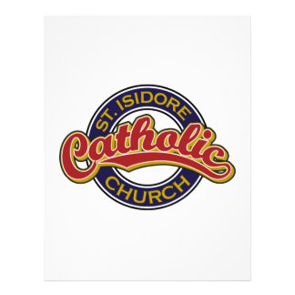St. Isidore Catholic Church Red on Blue Custom Letterhead