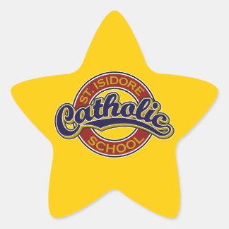 St. Isidore Catholic School Blue on Red Star Sticker