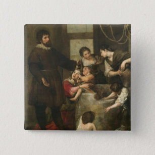 St. Isidore saves a child that had fallen in a wel Button