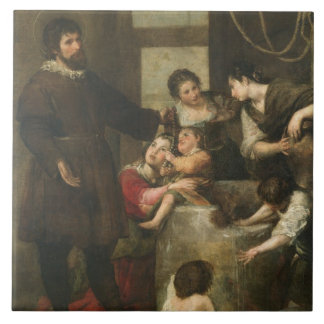 St. Isidore saves a child that had fallen in a wel Large Square Tile