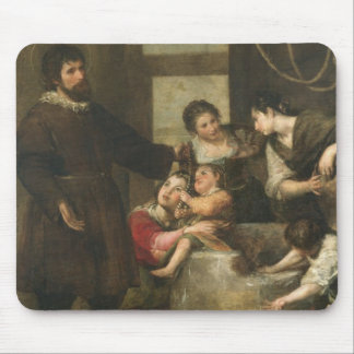 St. Isidore saves a child that had fallen in a wel Mouse Pad