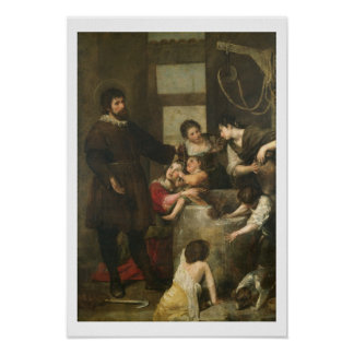 St. Isidore saves a child that had fallen in a wel Poster