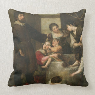 St. Isidore saves a child that had fallen in a wel Throw Pillow