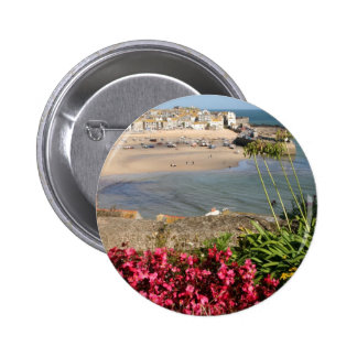 St Ives Harbour Pink Flowers Button