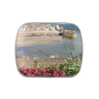 St Ives Harbour Pink Flowers Candy Tin