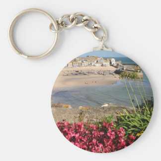 St Ives Harbour Pink Flowers Key Chain