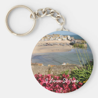 St Ives Harbour Pink Flowers Keychain