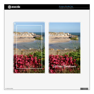 St Ives Harbour Pink Flowers Kindle Fire Skin
