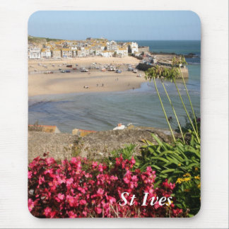 St Ives Harbour Pink Flowers Mouse Pad