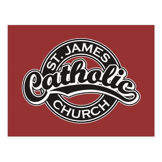St. James Catholic Church Black and White Postcard