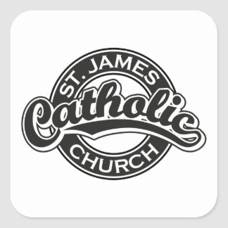 St. James Catholic Church Black and White Square Stickers