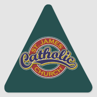 St. James Catholic Church Blue on Red Triangle Sticker