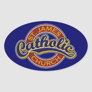 St. James Catholic Church Blue on Red Oval Stickers