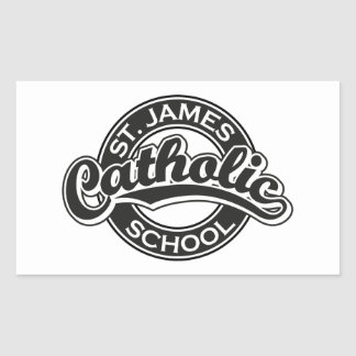 St. James Catholic School Black and White Rectangle Stickers