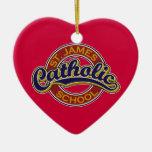 St. James Catholic School Blue on Red Christmas Ornaments