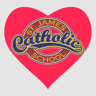 St. James Catholic School Blue on Red Heart Stickers