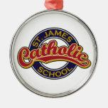 St. James Catholic School Red on Blue Christmas Tree Ornaments