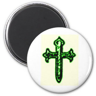 St James Cross in Green Tint 2 Inch Round Magnet