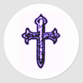 St James Cross in Purple Tint Round Stickers