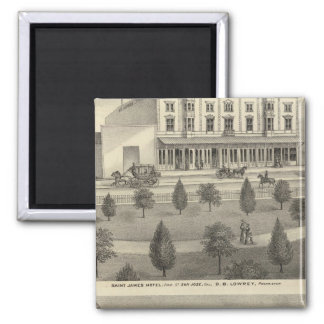 St James Hotel, residence 2 Inch Square Magnet