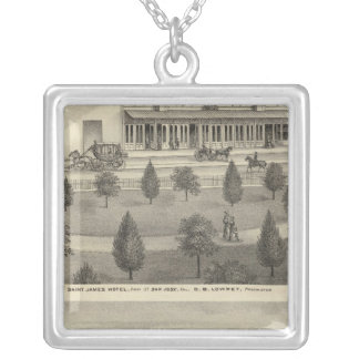 St James Hotel, residence Square Pendant Necklace