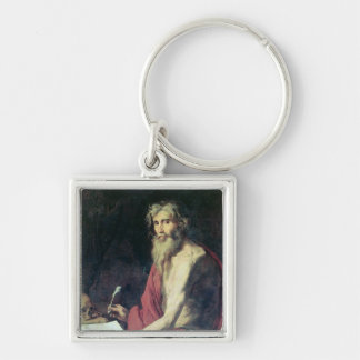 St. Jerome 2 Silver-Colored Square Keychain