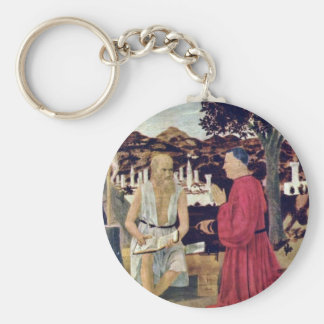 St. Jerome, And A Founder By Piero Della Francesca Basic Round Button Keychain