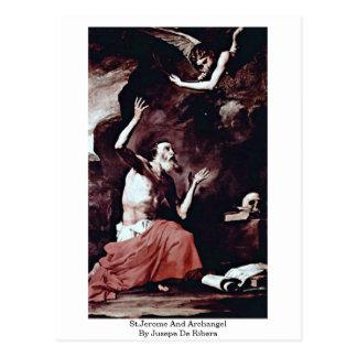 St.Jerome And Archangel By Jusepe De Ribera Postcard