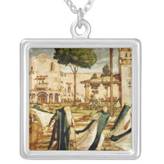 St. Jerome and Lion in the Monastery, 1501-09 Square Pendant Necklace