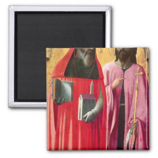 St. Jerome and St. John the Baptist, c.1428-29 2 Inch Square Magnet
