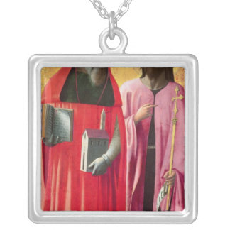St. Jerome and St. John the Baptist, c.1428-29 Square Pendant Necklace