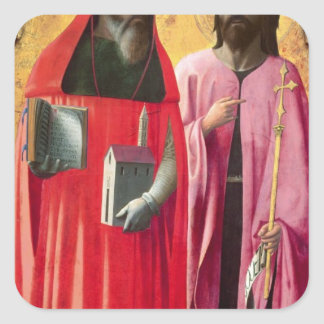 St. Jerome and St. John the Baptist, c.1428-29 Square Sticker