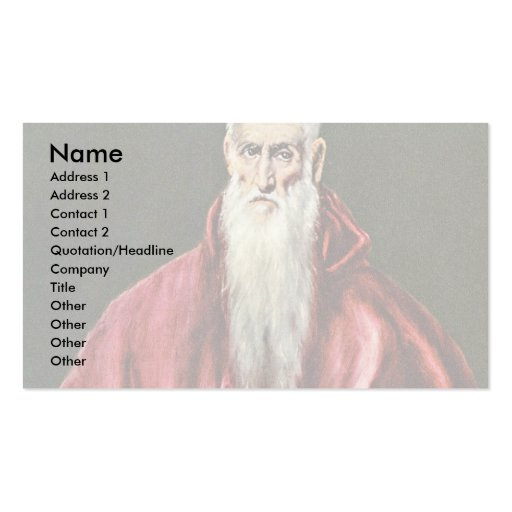 St. Jerome As Cardinal By Greco El Business Card