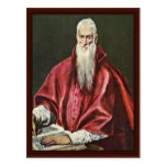St. Jerome As Cardinal By Greco El Postcard