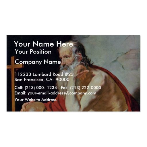 St. Jerome By Blanchard Jacques (Best Quality) Business Card Template