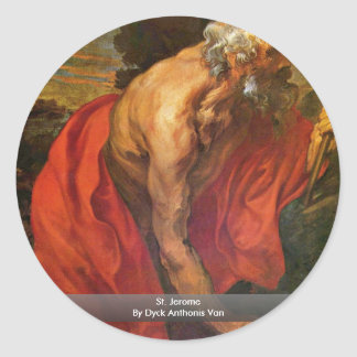 St. Jerome By Dyck Anthonis Van Round Stickers