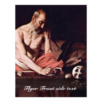 St Jerome By Michelangelo Merisi Da Caravaggio Flyer Design