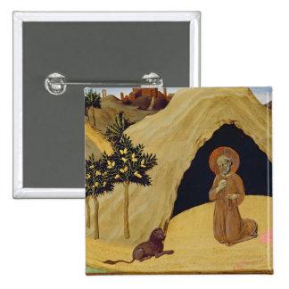 St Jerome con el león, 1436 (tempera en el panel) Pin Cuadrada 5 Cm