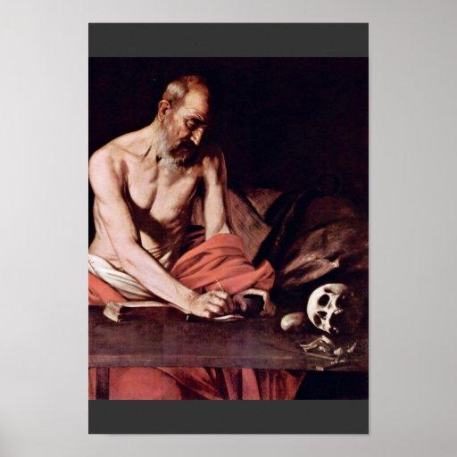 St Jerome de Miguel Ángel Merisi DA Caravaggio Posters