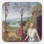 St Jerome en el desierto, c.1499-1502 Calcomanía Cuadradas Personalizada